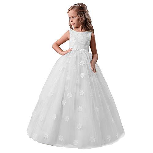 NNJXD Mädchen-Kind-Ballkleid Tulle Prinzessin Hochzeit Partei-Abschlussball-Kleid-Größe (140) 8-9 Jahre 363 Weiß-A