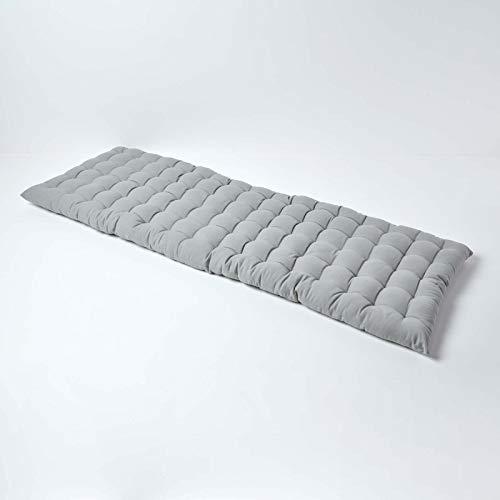 Homescapes 3-Sitzer Bankauflage, grau, Sitzkissen für Bänke und Gartenbänke mit Bezug aus 100% Baumwolle und weicher Polyester-Füllung, 143 x 48 cm, Polsterauflage für Gartenmöbel