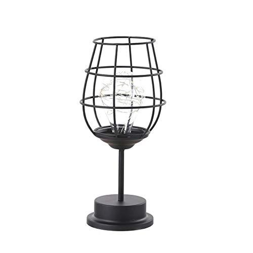 QIEZI Lámpara de mesa industrial, lámpara de mesa vintage de hierro forjado con botella de vino – Clásica y elegante, robusta, bombilla incluida, lámpara de mesita de noche vintage