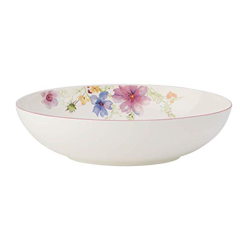 Villeroy & Boch Mariefleur Basic ovale Servierschüssel, Schüssel mit filigranem Blumendekor aus Premium Porzellan, spülmaschinenfest, 32 cm