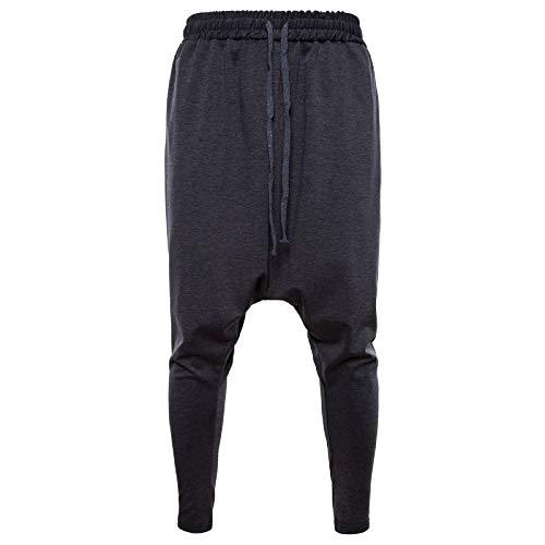 Elonglin Homme Sport De Jogging De Sport Pantalons Jogging Pantalon Chino Sarouel Cordon de Serrage Baggy Style Pants Gris Foncé Taille FR 56 (Asie XL)