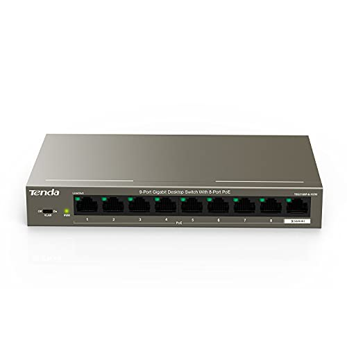 Tenda 9 Port Gigabit PoE Ethernet Switch- with 8×PoE @102W (TEG1109P) | Plug & Play | Office Size | Metal Housing | Lightning Protection | Easy Smart | Limited Lifetime Protection