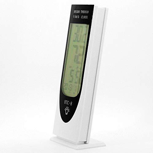 Mètre de fréquence de Poche Portable LLD HTC-8 LCD Lumineux LCD LED Night Thermomètre Thermomètre Hygromètre Hygromètre Compteur d'humidité, avec Alarme/Date/Horloge/Calendrier Support de sonde