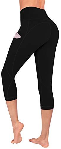 FUNANI High Waist Yoga Pants with Pockets, Yoga Pants for Women Running Workout Yoga Leggings with Pockets (Capri-Black, X-Large)