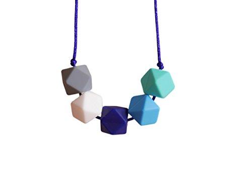 Imagen para Collar de Dentición Elegante de Silicona para Lactancia de Bebé Perlas Hexagonales para Mordedor Libres de BPA, Hecho a Mano por MilkMama
