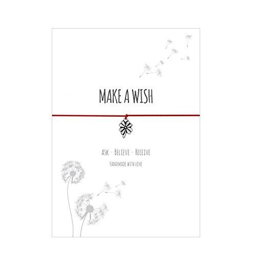 Glücksschmiedin Make a Wish - Armband mit Kleeblatt Anhänger versilbert, elastischem Textilband in rot und liebevoller Karte: Ask-Believe-Receive
