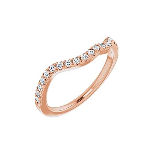 Banda de oro rosa de 14 quilates redonda de 7,4 pulido de 0,2 quilates de diamante tamaño N 1/2 joyería regalos para mujeres