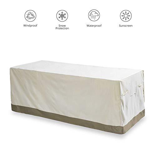 Lumaland Abdeckung für Gartentisch 183 x 114,3 x 67,3 cm robuste Schutzhülle für Gartenmöbel Esstisch Oxford 600D 280 g/m² Wasserdicht Witterungsbeständig Winterfest in Beige