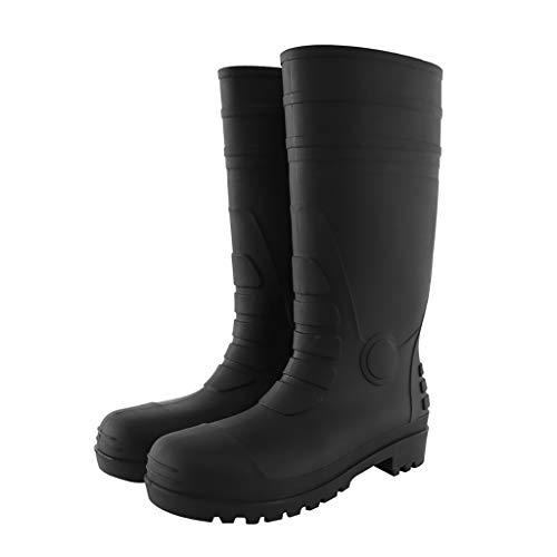 ZYFXZ Zapatos de Seguridad Seguridad Negro Hombres Wellington Alta Seguridad Botas de Trabajo, con el Casquillo de Acero del Dedo del pie, Anti-Slip/Anti-Slip/Resistente al Desgaste/Impermeable/resi