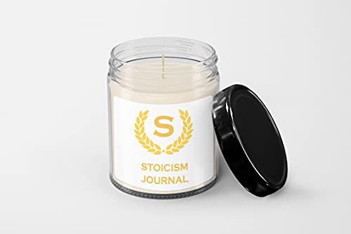 Stoicism Journal Candle – Vela de cera de soja – Vela vazada à mão – Vela perfumada de baunilha – Pote de vela