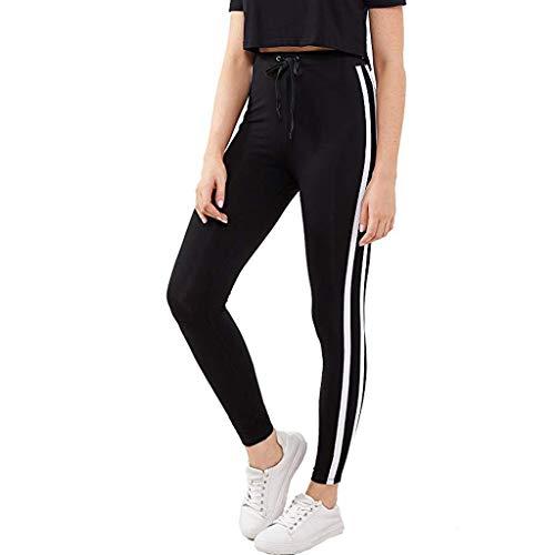 Zarupeng Slim Fitnessbroek voor dames, leggings en gymnastiek, yogabroek, joggingbroek met elastische band, witte strepen, vrijetijdsbroek