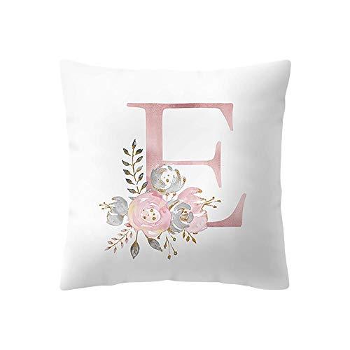 Amaone Cushion Cover 45cm x 45cm/18x18 Inches - Pillow Cases Square Letter Alphabet Flower Print Sofa Waist Chair Home Office Bar Car Decor Decorative Throw Pillowcase Protectors With Zipper