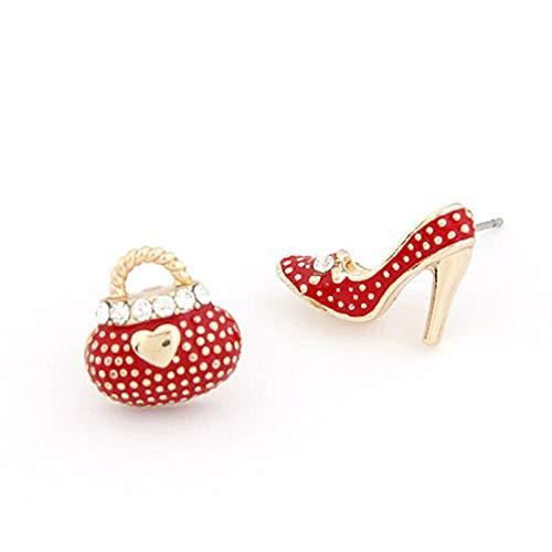 LLDEH Estilo clásico Mini Bolsos Lindos Tacones Zapato Pendientes asimétricos para Mujer