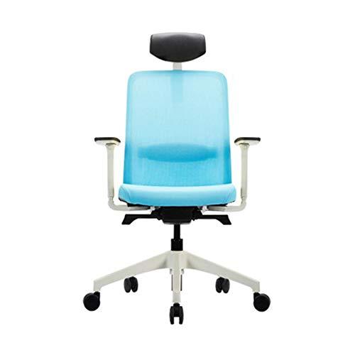 Silla de oficina ergonómica para ordenador, silla de escritorio, silla de oficina, fácil de usar, reposabrazos de poliuretano, malla/tela, ruedas silenciosas, aleación, azul claro, talla