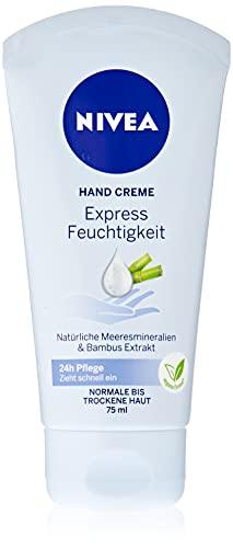 NIVEA Express Feuchtigkeit Hand Creme (75 ml), leichte Hautcreme mit Bambus-Extrakt und natürlichen Meeresmineralien, schnell einziehende Handpflege