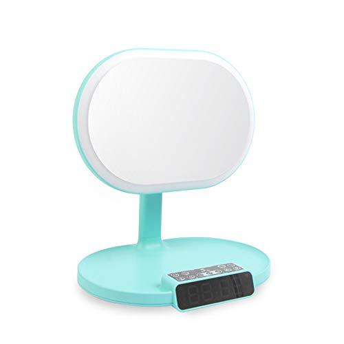 Agnifying makeup-spegel med musik upplyst sminkspegel, förstoring sminkspegel, upplyst förstoringsspegel med LED-lampor grön