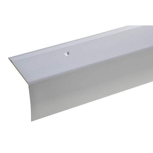 Aluminium Treppenwinkel-Profil - 135cm, 42x50mm ✓ Rutschhemmend ✓ Robust ✓ Leichte Montage | Treppenkanten-Profil, Treppenstufen-Profil aus Alu | Gelochtes Stufenkanten-Profil, Treppenprofil