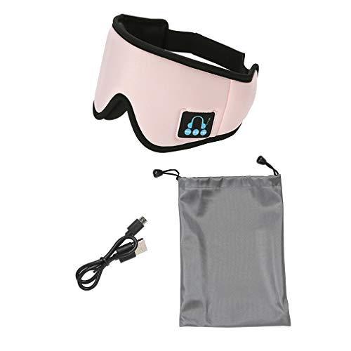 Yihaifu Eye 3D Cover Bluetooth Casque Bluetooth Yeux Couverture Sommeil Yeux Portable Sommeil Eyepatch, 05 Type, Side Mark, Rose