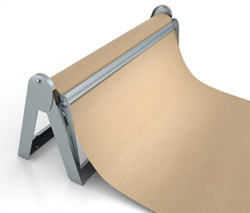 """Paper Roll Dispenser and Cutter - Long 18"""" Roll Paper Holder - Great Butcher Paper Dispenser, Wrapping Paper Cutter, Craft Paper Holder or Vinyl Roll Holder - Wall Mountable"""