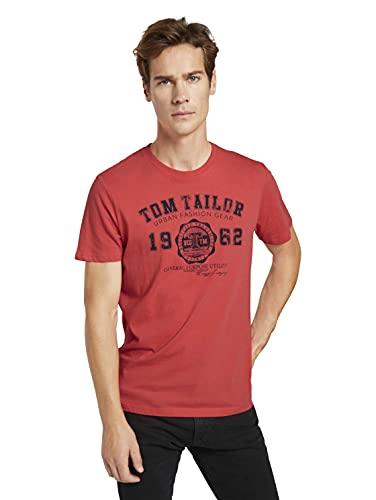 TOM TAILOR Herren Logodruck T-Shirt, 11042-Plain Red, M
