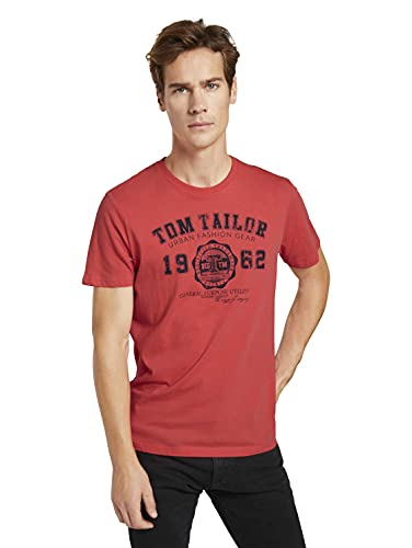 Tom Tailor 1008637 Basic Logo Camiseta, 11042 Plain Red, L para Hombre
