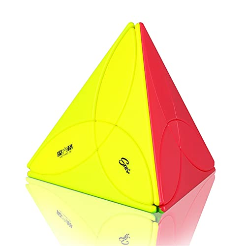 ULIN Triangolo Piramide Adesivo Cubo Puzzle 3D Piramide a Forma Speciale Giocattolo rompicapo educativo Divertente a Quattro Lati del Secondo Ordine,Color