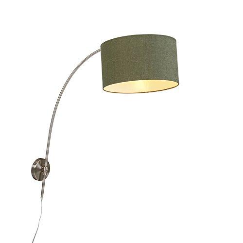 QAZQA Moderne Applique murale arqué en acier avec aba-jour cylindre 35/35/20 vert mousse Métal/Tissu Acier,Vert Rond E27 Max. 1 x 60 Watt/Luminaire/Lumiere/Éclairage/intérieur/Salon/Cuisi