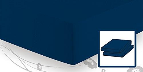 Preisvergleich Produktbild schlafgut Elastic-Jersey Spannbetttuch / Spannbettlaken 90x220 bis 100x220,  Marine