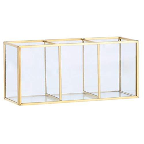 WSAUT - Organizador de maquillaje, caja de almacenamiento de cosméticos, caja de almacenamiento de vidrio, soporte de gran capacidad para almacenar joyas, hogar, escritorio, caja de almacenamiento para el sol