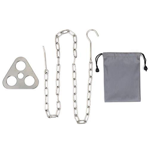 Juego de cadenas de acero inoxidable, placa de tablero de acero inoxidable de 3 orificios con cadena ajustable Placa de tabla de trípode de fogata para acampar para colgar utensilios de cocina Placa