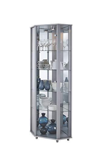 LOCKABLE Fully Assembled HOME Silver Corner Glass Display Cabinet, 7 Glass Shelves, Mirror Back, Spotlight