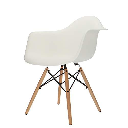 Popfurniture POP Designer Stuhl DAW Weiss mit Armlehne - Esszimmerstuhl, Wohnzimmerstuhl, Bürostuhl, Retro Stuhl aus Kunststoff und Ahornholz | 63 x 60 x 83 cm