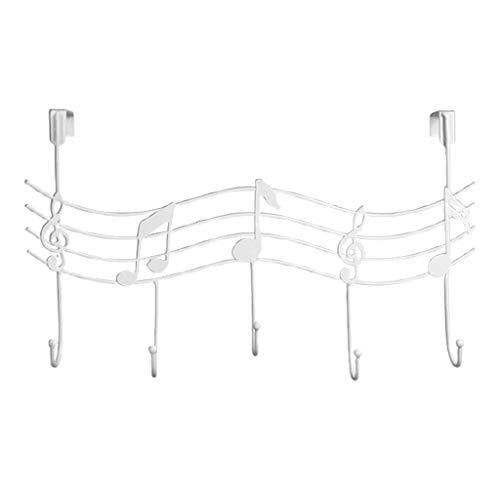 Notas Musicales onduladas, 5 Ganchos, Perchero montado en la Pared, Perchero para Ropa, Perchero Elegante, Perchero W