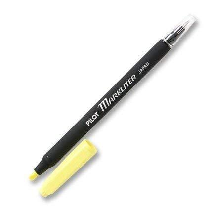 6 PACK: Pilot Markliter Black Ballpoint Pen & Fluorescent Yellow Chisel-Tip Highlighter(45600) by Pilot