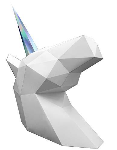 Oh Glam Home Kit DIY Unicornio Papercraft Kit Trofeo de Pared cartón 3D Escultura Origami 3D Puzzle 3D PRECORTADO (Busto Blanco, Cuerno holográfico)