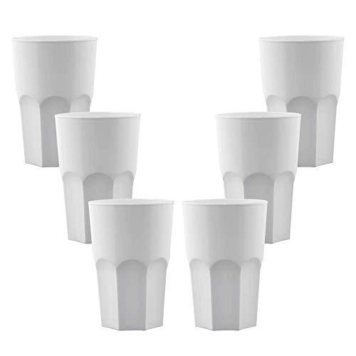 TUNDRA ICE INTERNATIONAL Set 6 Pezzi Bicchieri Cocktail in Policarbonato (Plastica Rigida) da 40 Cl, 100% Design Italiano, Tumbler Riutilizzabili e Lavabili in Lavastoviglie, Colore Bianco