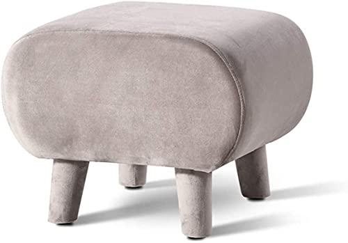 LTHDD Taburete pequeño otomano de tela de franela, moderno y minimalista, rectangular, taburete (color: gris)