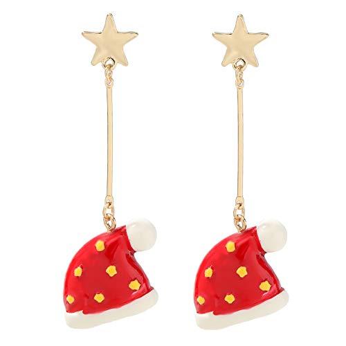 BSbattle Simple y de moda Navidad copo de nieve bola de la decoración pendientes de las mujeres populares accesorios de joyería de Navidad