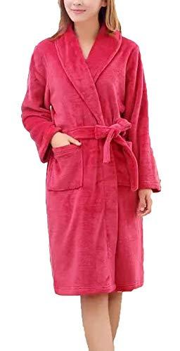 Adelina dames heren badjas fleece lang koraal dikke warme ochtendjas Vacation geschenken lange mouwen V-hals comfortabel zacht paar Homewear Nightwear pyjama
