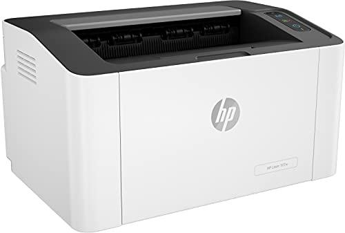 HP Laser 107w 4ZB78A, Impresora Láser Monofunción Monocromo, Impresión a Doble Cara Manual, Wi-Fi, USB 2.0 de alta velocidad, HP Smart App, Apple AirPrint, Panel de control LED, Blanca