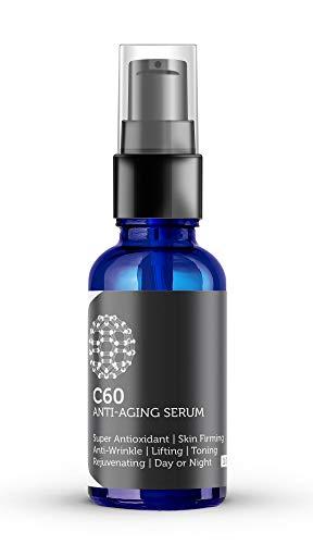 Carbon 60 Serum antienvejecimiento 30ml con ácido hialurónico, células madre vegetales, péptidos, vitaminas B + C y complejos antiarrugas antiarrugas para hombres y mujeres