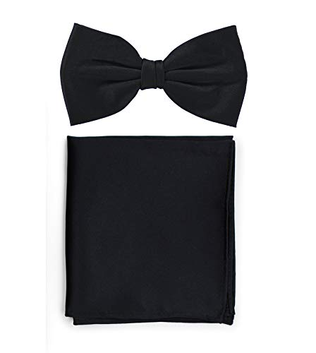 Puccini Puccini Uni Fliegen Set mit Einstecktuch, einfarbiges Set mit Herrenfliege (Fliege, Bow Tie) und Einstecktuch für Hochzeit & festliche Anlässe (Schwarz)