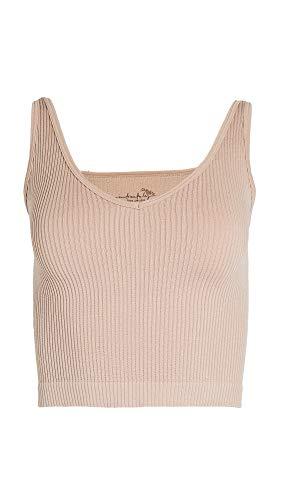 Free People Women's Solid Rib Brami Top, Nude, Tan, XS/S