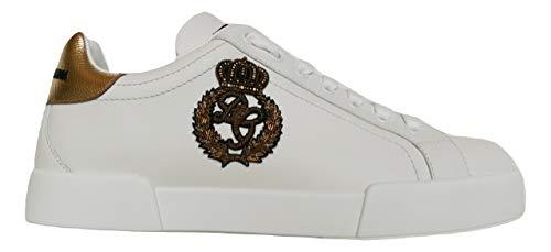 Dolce & Gabbana Zapatillas bajas Portofino de piel CS1761 AH136 8I047, color blanco y dorado Size: 44.5 EU