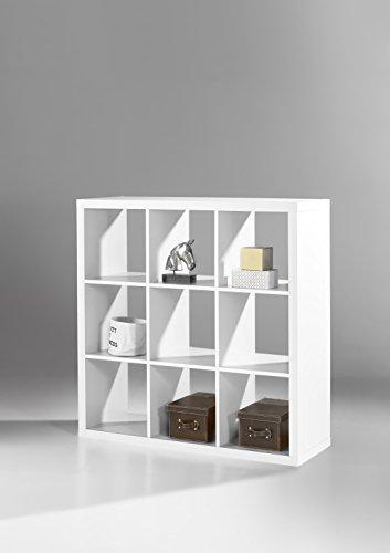 Stella Trading Raumteiler Weiß Regal mit 9 offenen Fächer, BxHxT 112x112x38 cm