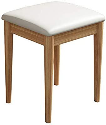 FJFDZ Solid Wood Makeup Stool Modern Square Dressing Stool Bedroom Leather Upholstered Footstool Waterproof Padded Ottoman