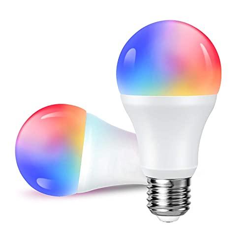 Bombilla LED Inteligente WiFi Multicolor E27 Alexa Bombillas Inteligentes 2 Piezas 2700-6500K 7W Luces Inteligentes Cálidas/Frías RGB Funciona con Alexa,...