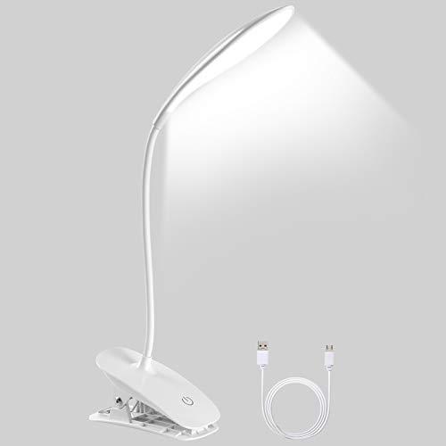 URAQT Flexo Led Escritorio, Lampara Lectura Pinza, Lampara Escritorio con Panel Táctil, 3 Niveles de Brillo y Modo de Carga USB, 360 ° Flexible