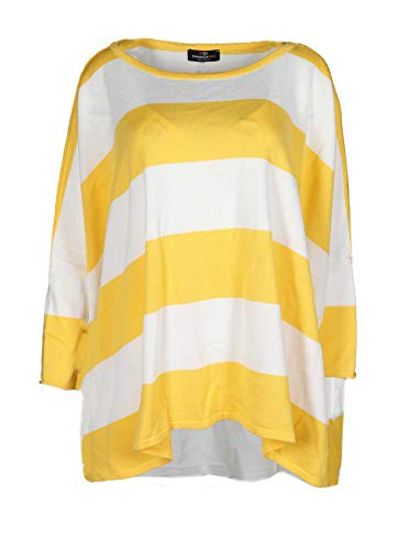 Zwillingsherz Poncho mit Baumwolle - Hochwertiges Cape im Streifen Design für Damen Mädchen - XXL Umhängetuch und Tunika - Strick-Pullover - Sweatshirt - Stola für Frühjahr Sommer Herbst und Winter