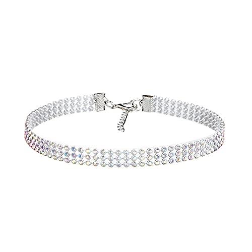 RXDZ Gargantilla de cristal con diamantes de imitación para mujer, accesorios de boda, cadena de color plateado, estilo punk gótico (tamaño: multicolor 1 cm)